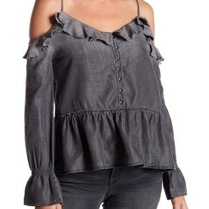 William Rast WOLFE Cold Shoulder Ruffle Top Small